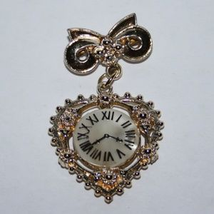 Vintage gold and shell clock brooch
